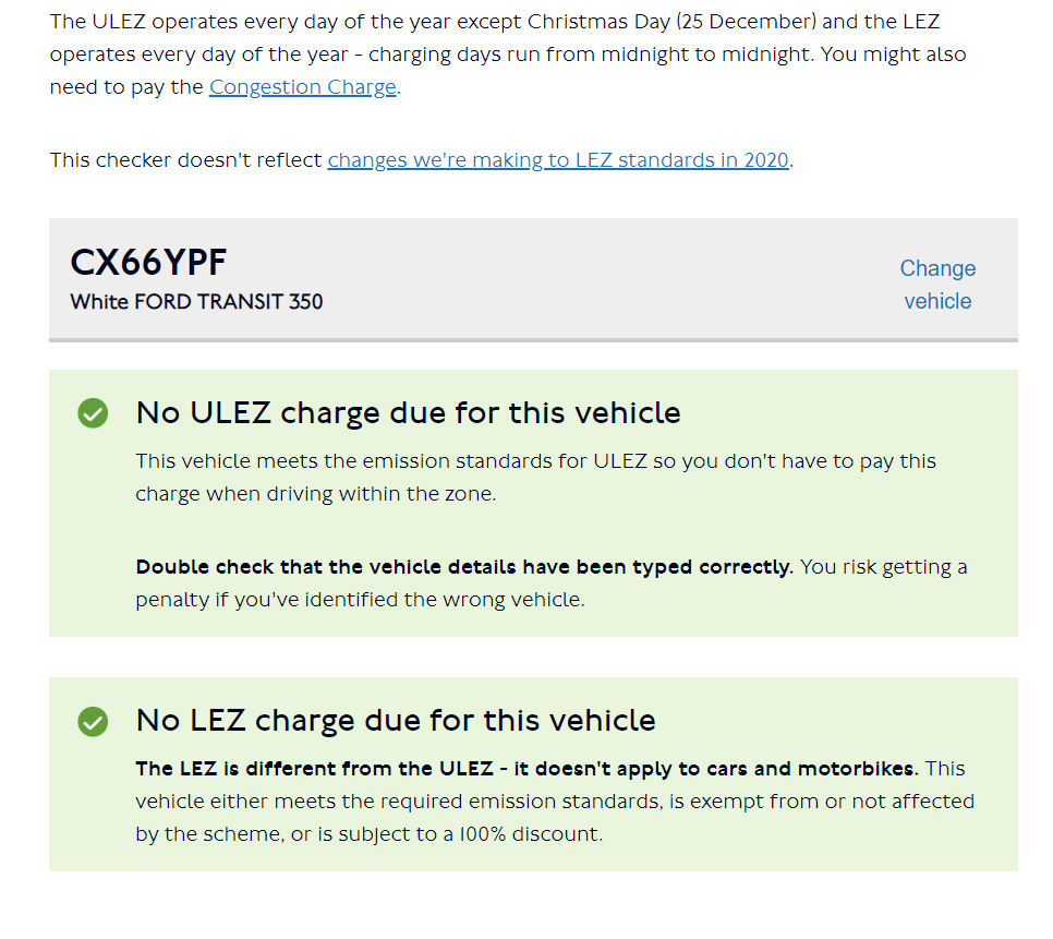 No Ulez charge due for this vehicle